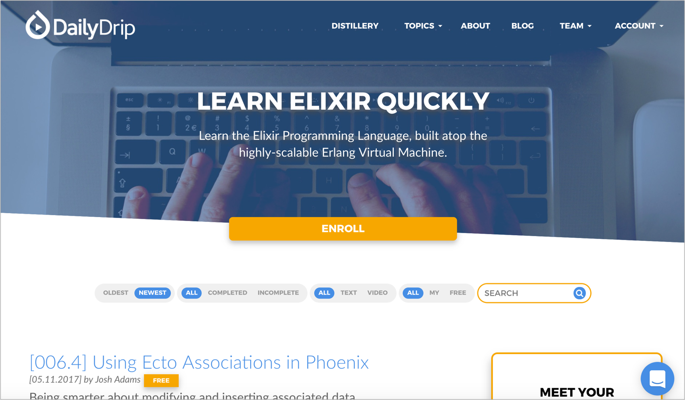A free introduction to Elixir, OTP, Ecto, and Phoenix - By