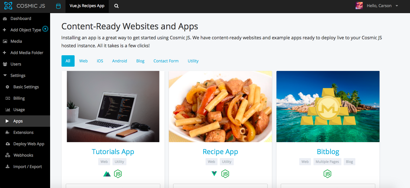 Deploy a Vue js Recipes App in 3 Steps - By Carson Gibbons
