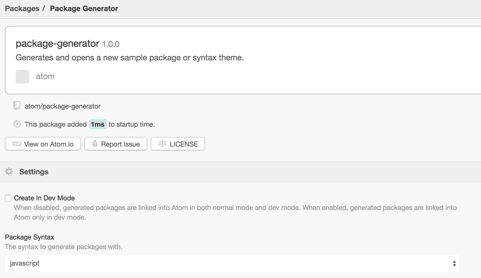 Change package generator language