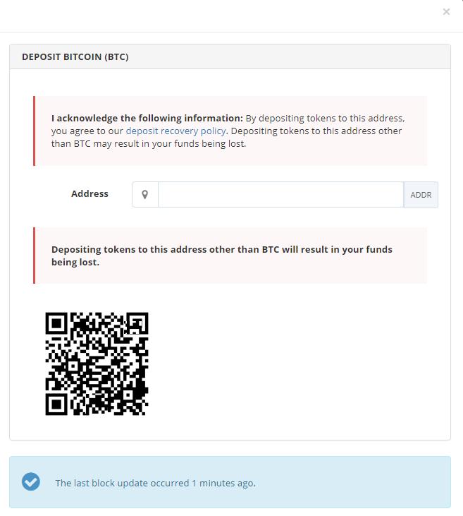 Deposit bitcoin - Bittrex