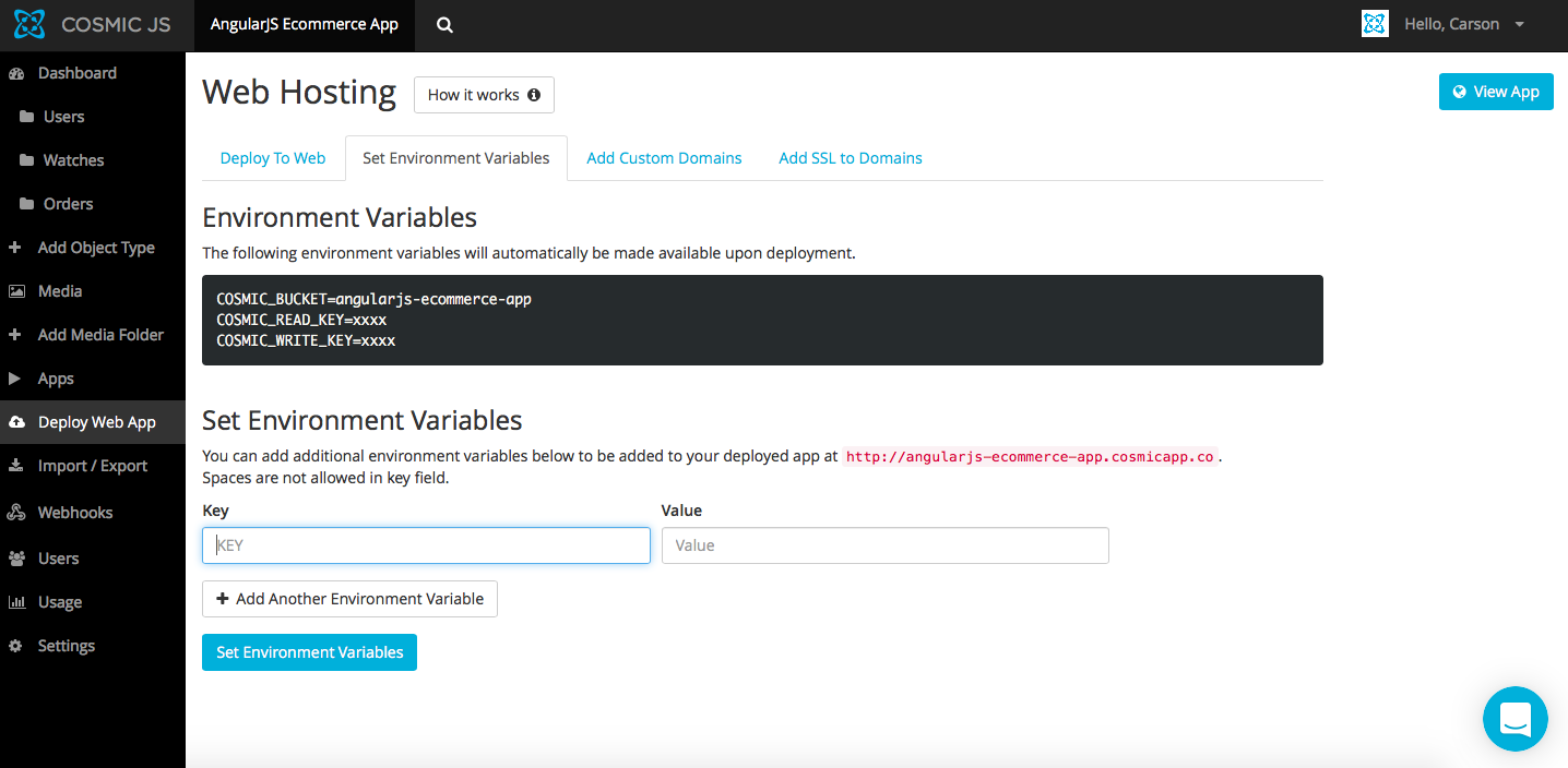 Deploy an AngularJS Ecommerce App in 4 Steps - By Carson