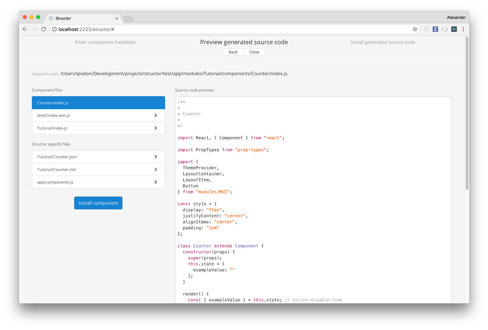 Creating React components in Structor — React UI Builder  - By