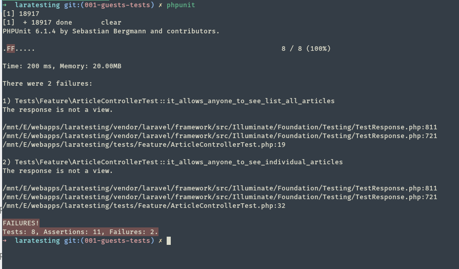 Laravel Testing 101] Writing tests for guest user functionalities on
