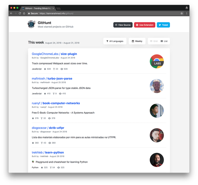 Get the most starred GitHub projects inside your new Chrome