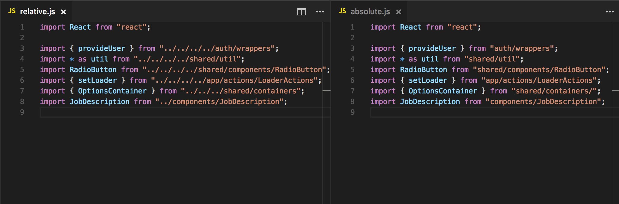 React Pro Tip: Use absolute imports for better readability and easy