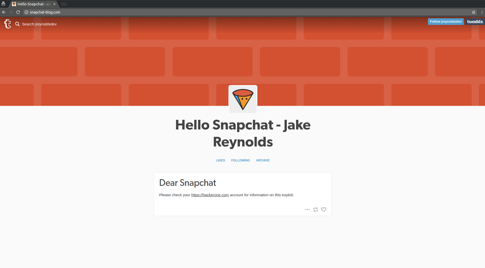 Subdomain takeover of blog snapchat com - By