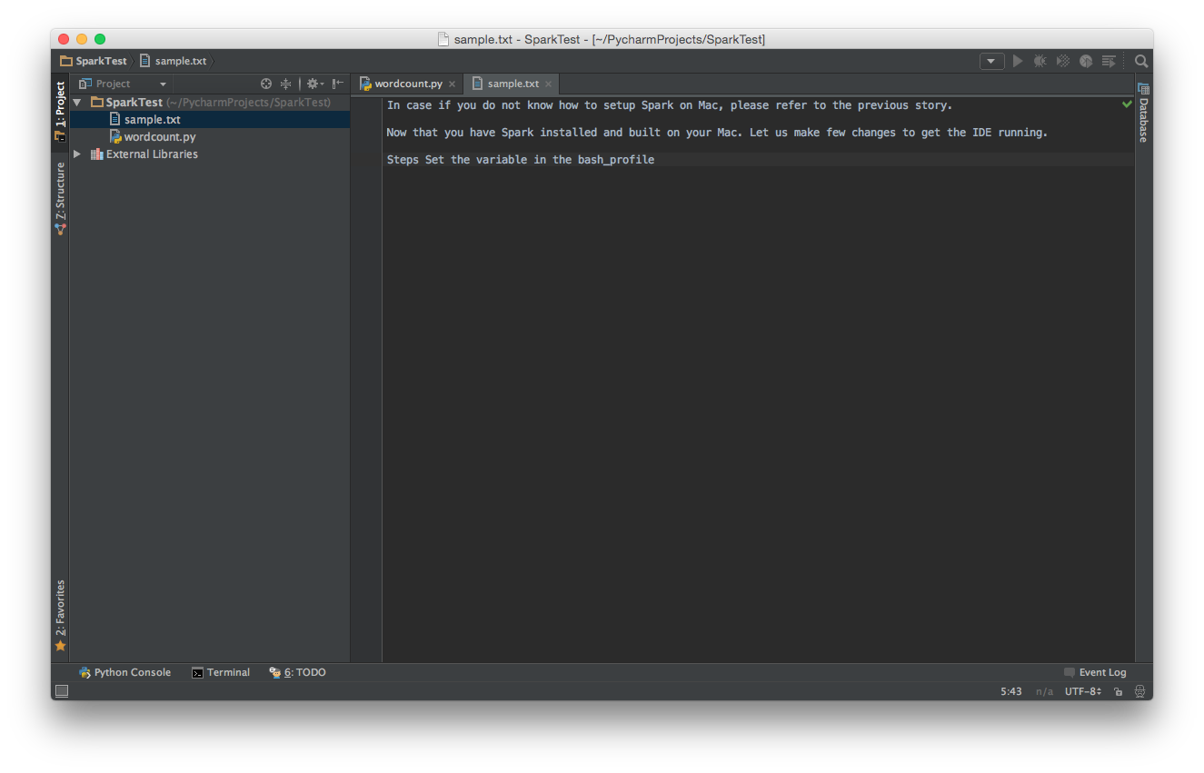 PyCharm and Apache Spark on Mac OS X - By