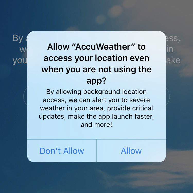 Advisory: AccuWeather iOS app sends location information to