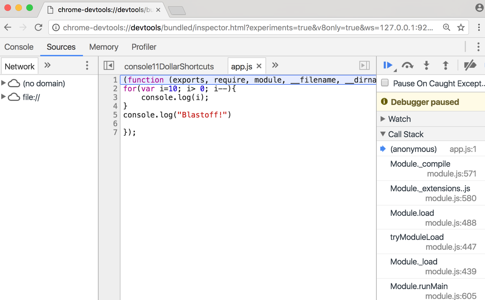 Debug Node js in browser with real Chrome Developer Tools - By