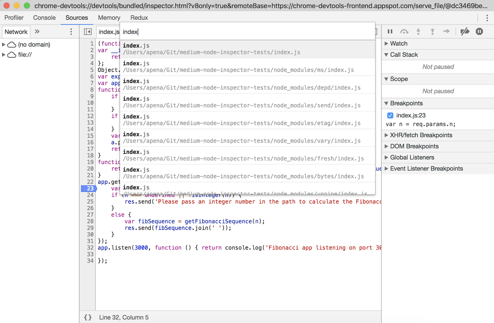 Debugging JavaScript/TypeScript Node apps with Chrome