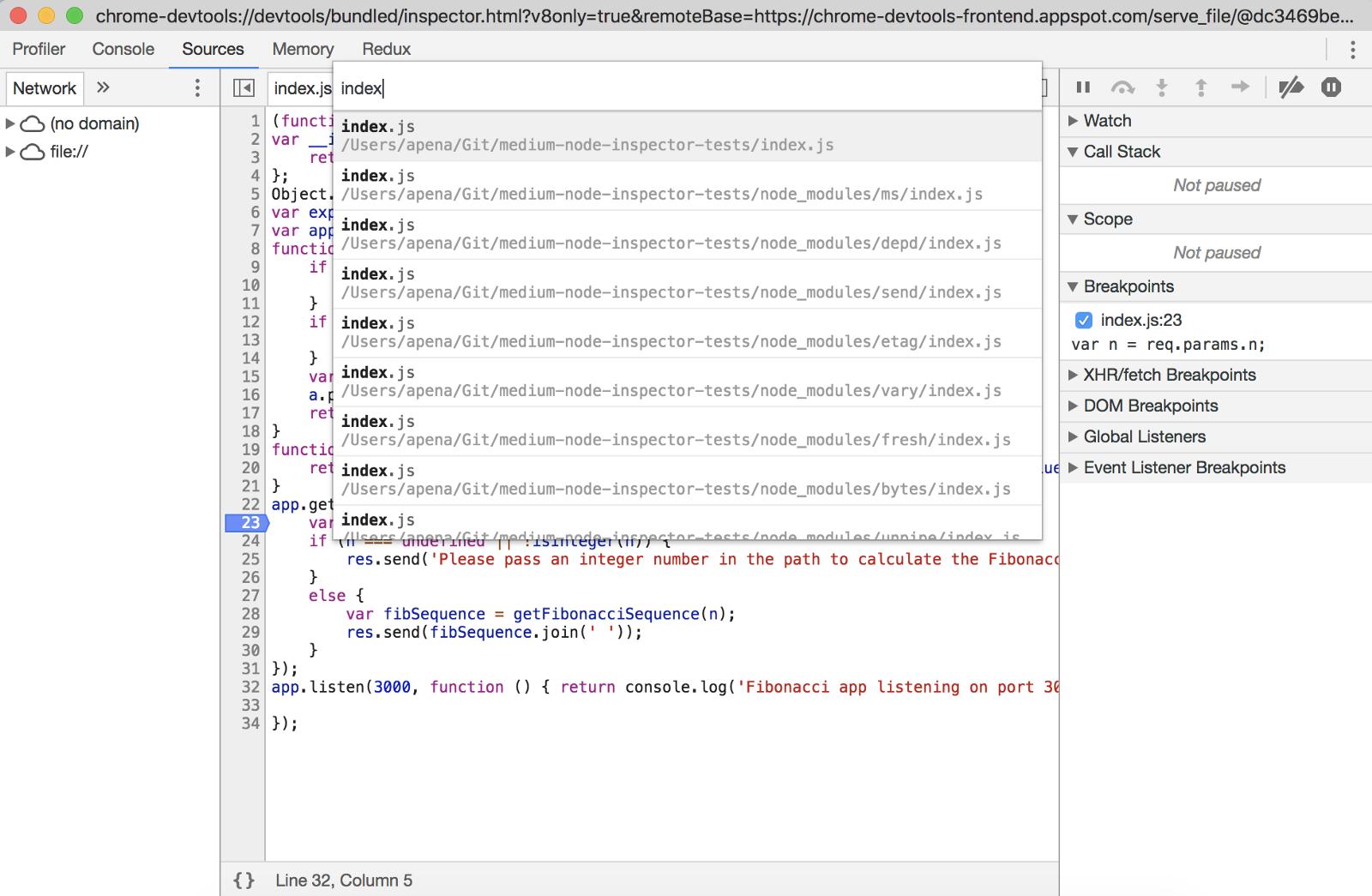 Debugging JavaScript/TypeScript Node apps with Chrome DevTools, VS
