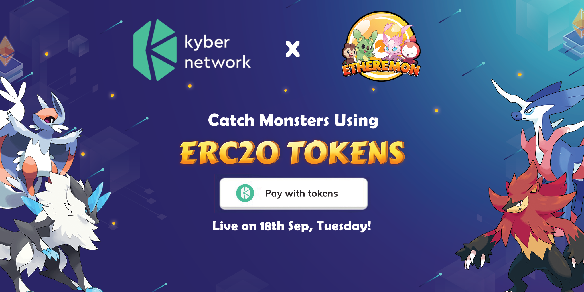 /etheremon-integrates-with-kybers-on-chain-liquidity-protocol-a-new-payment-solution-for-ccbb36dfd595 feature image