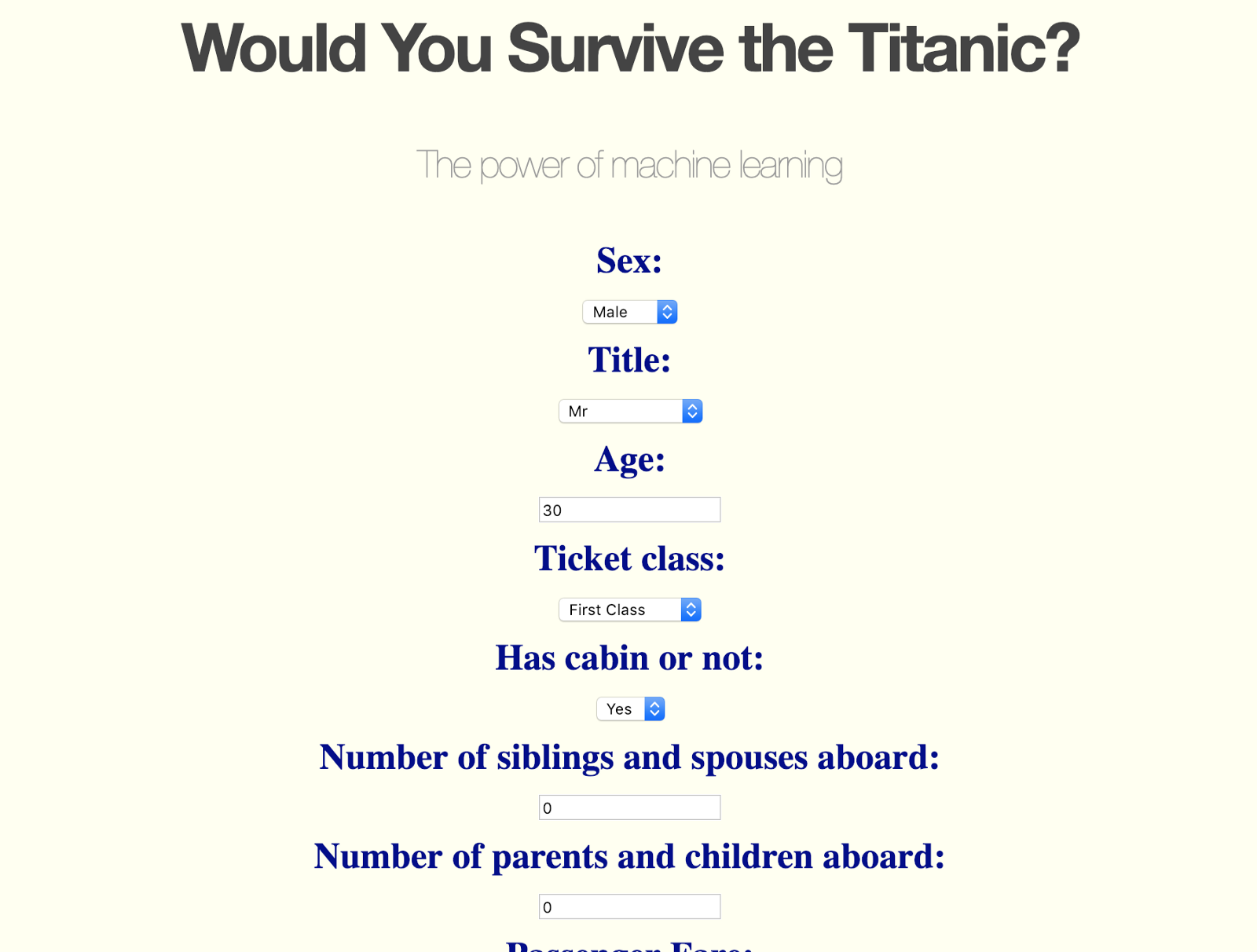 Would You Survive the Titanic? - By Eden