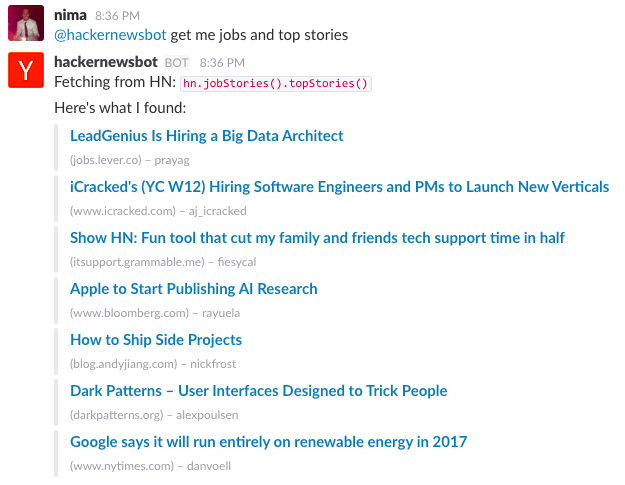 Hacker News bot with Slack's Events API and StdLib - By