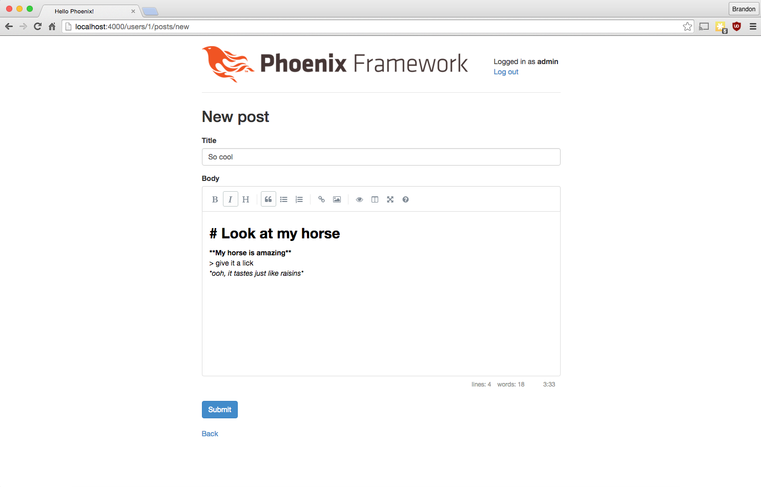Writing a Blog Engine in Phoenix and Elixir: Part 6, Markdown