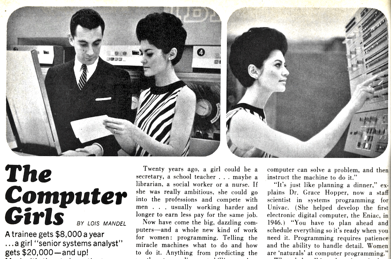 Partial scan of the 1967 Cosmopolitan article on The Computer Girls.