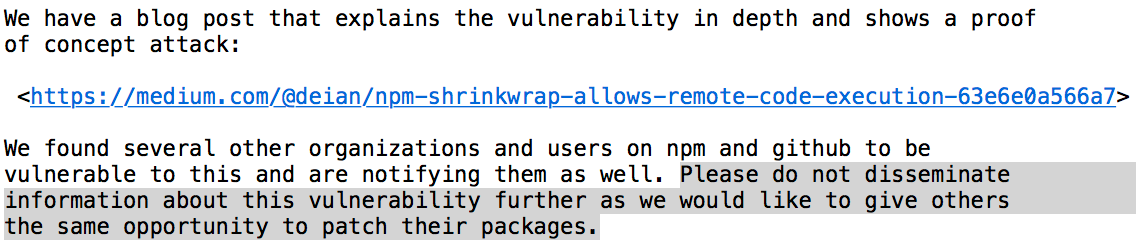 NPM shrinkwrap allows remote code execution - By