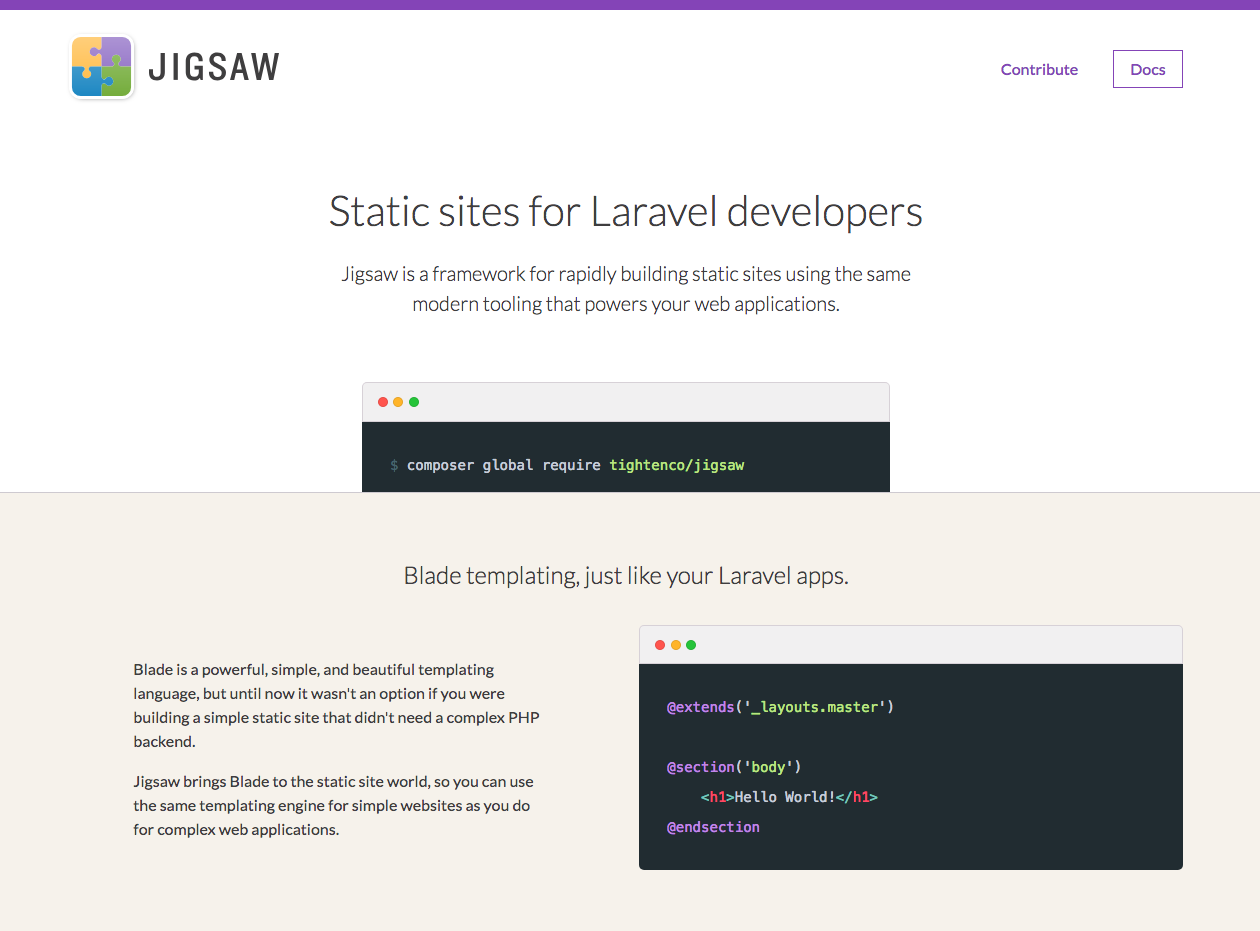 Jigsaw — the Laravel Static Site Generator  - By Rick West