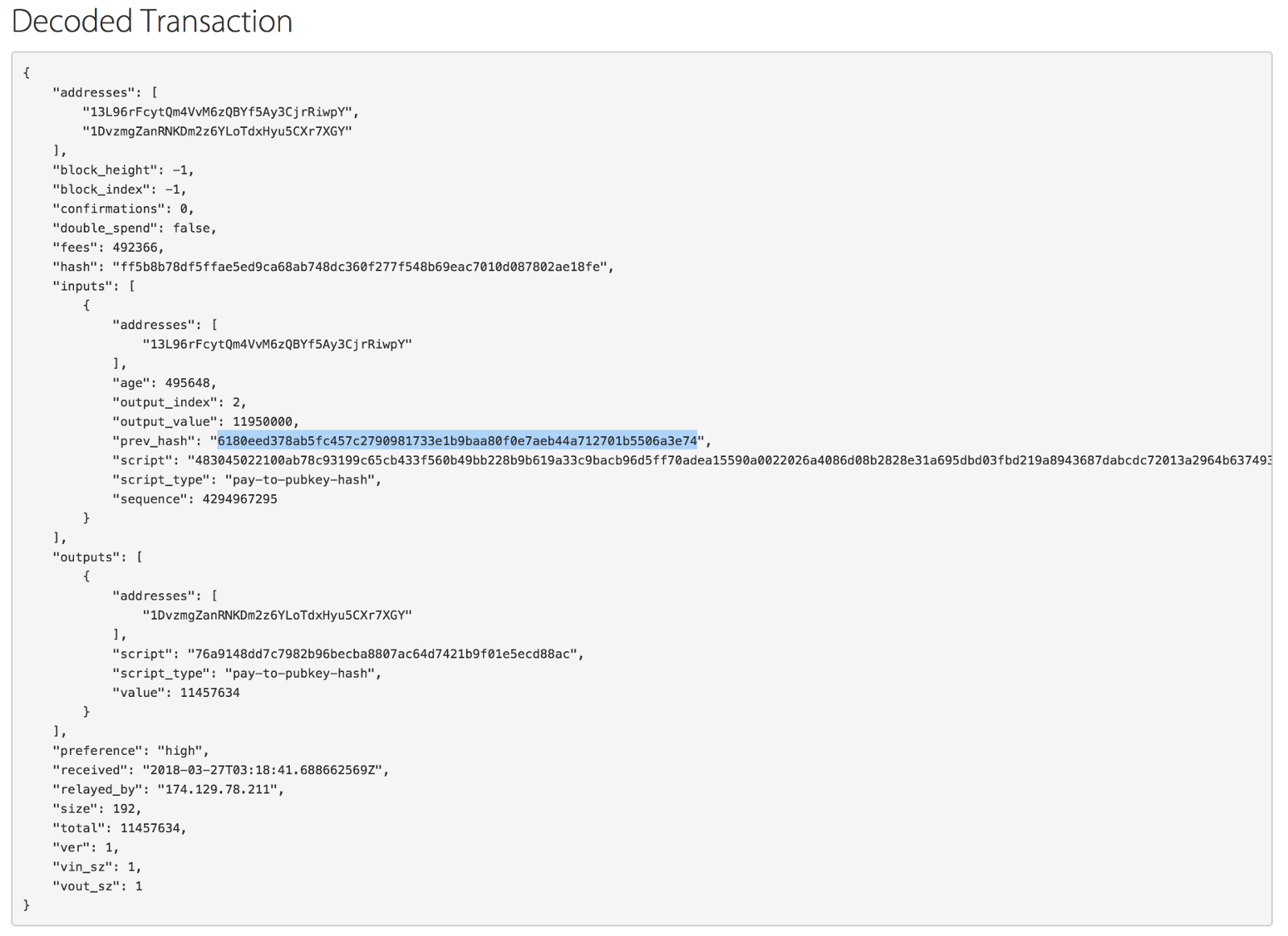 Deconstructing a confirmed bitcoin transaction - By