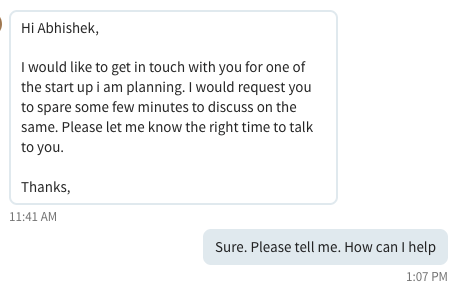 If you message me on LinkedIn, it's best to read this first - By