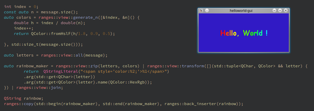 A C++ Hello World And the Cute Heartless Rainbow - By