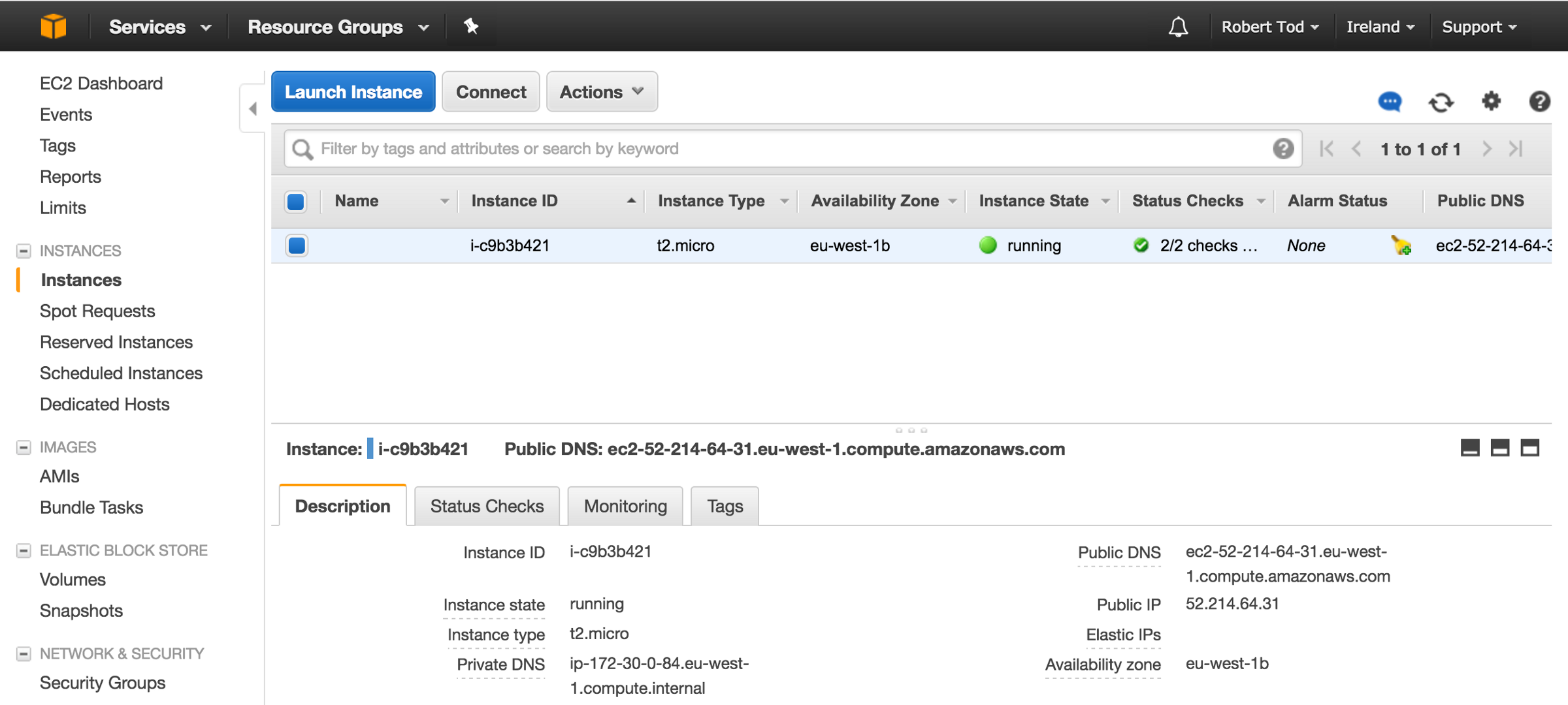 Tutorial: Creating and managing a Node js server on AWS