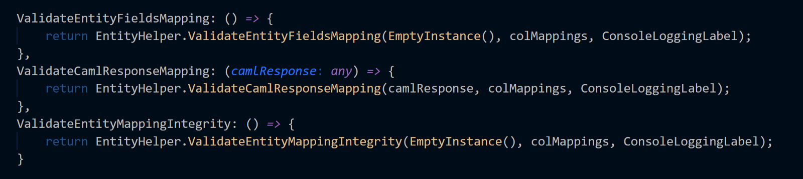 Useful Entity Mapping Supporting SharePoint Using TypeScript