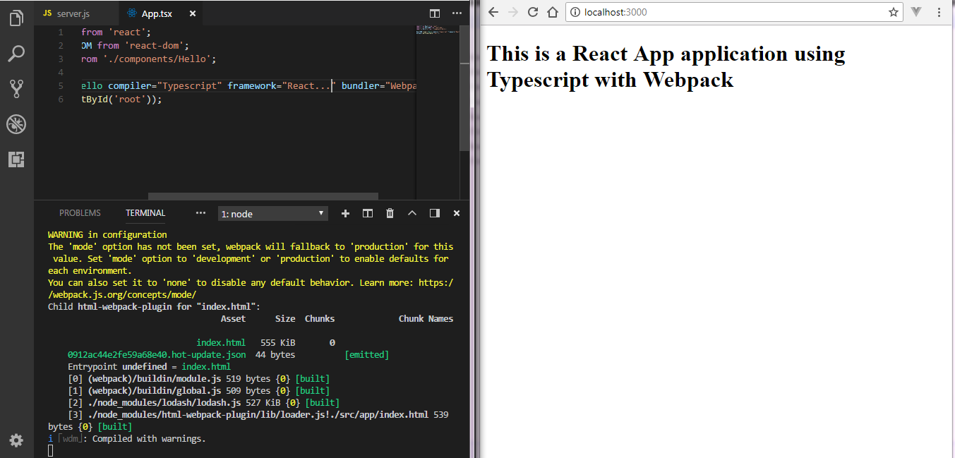 React with Typescript and Webpack - By