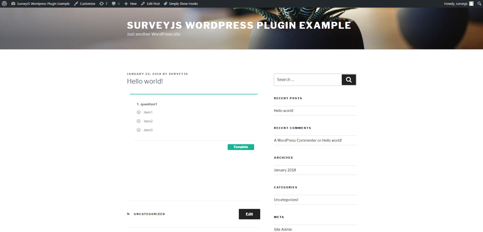 SurveyJS plugin for Wordpress - By
