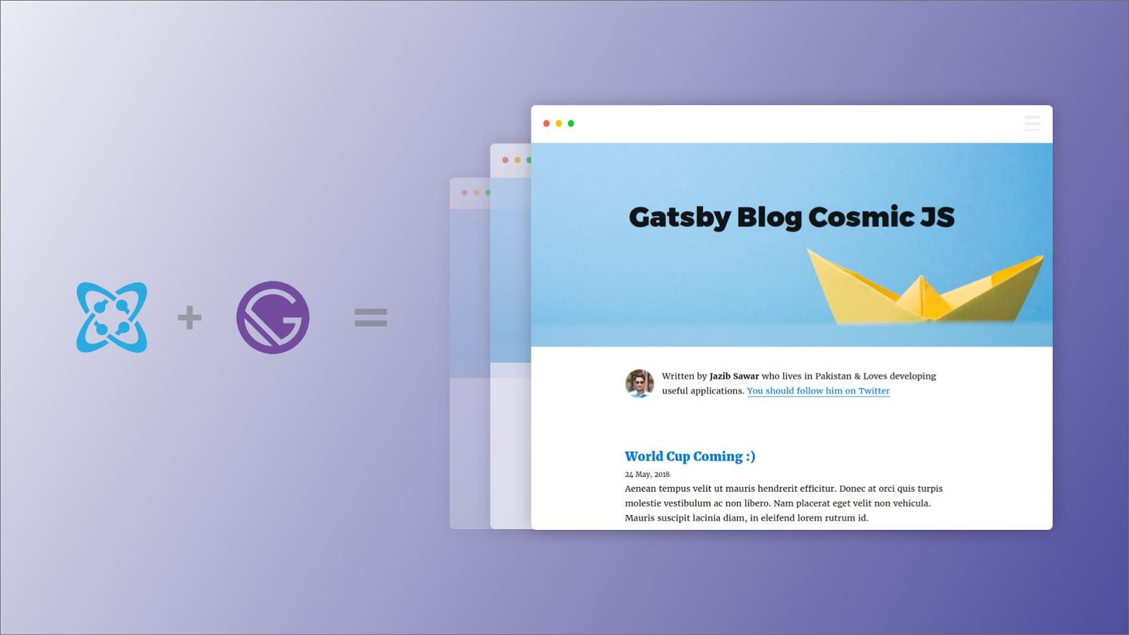 Install a Gatsby Blog built using React, GraphQL and Cosmic