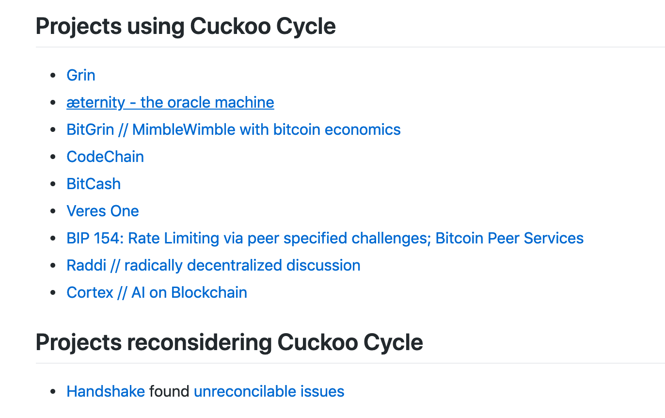 WTF is Cuckoo Cycle PoW algorithm that attract projects like