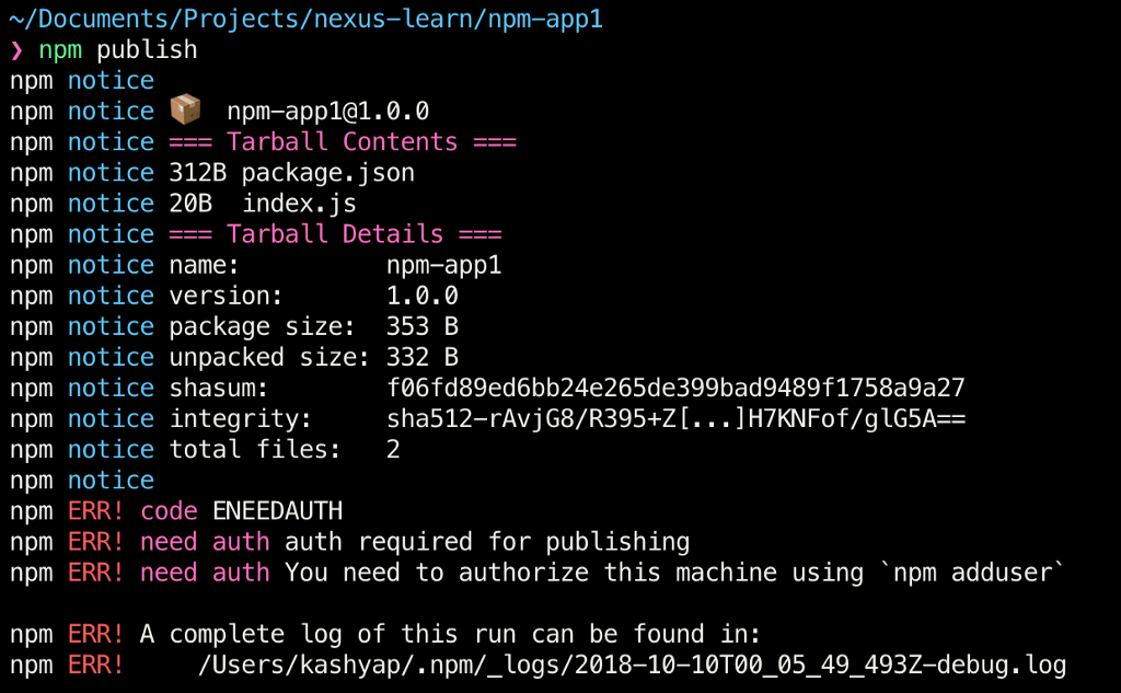 Publishing private NPM packages to Nexus - By Kashyap Mukkamala
