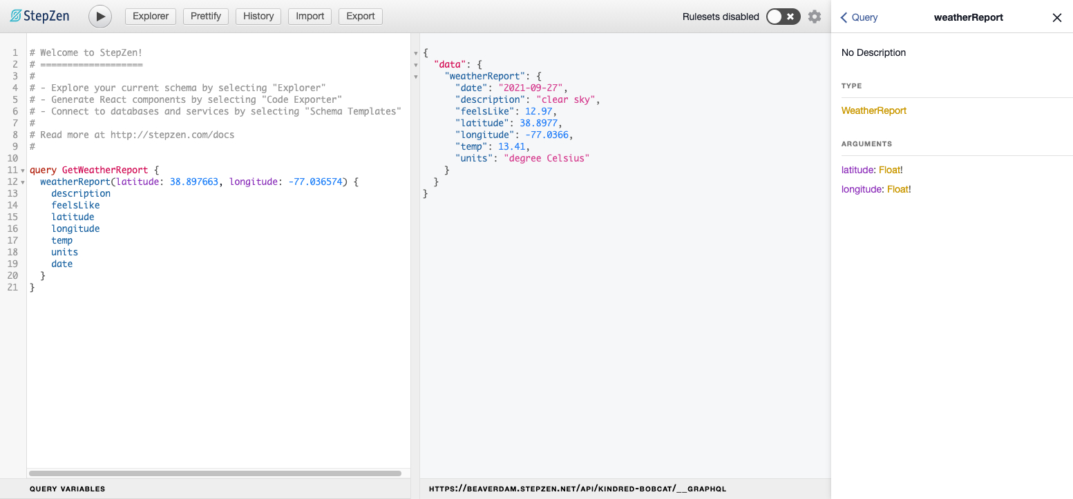 The GraphiQL playground with our query